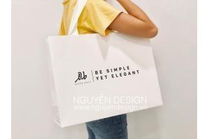 Túi giấy Ivory, big size, ruy băng gân dán giấu quai